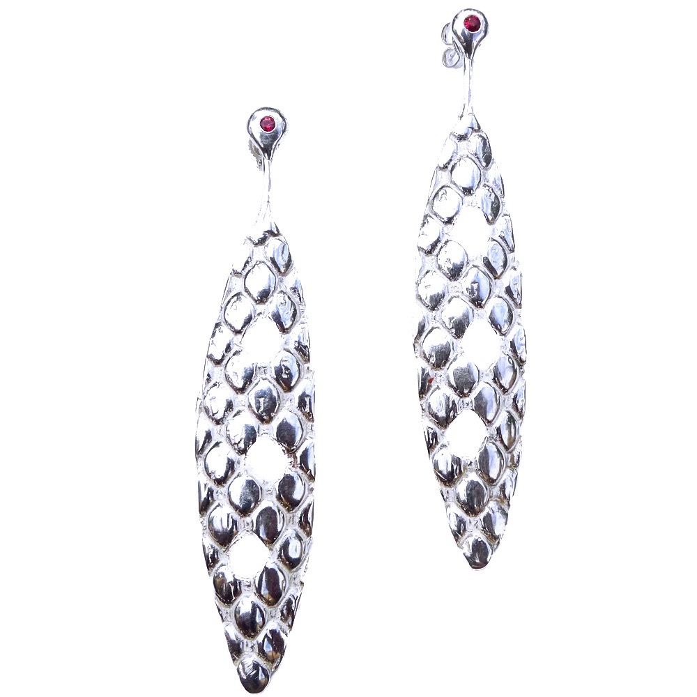 Marali earrings, elongated sterling silver with red flush set sapphires