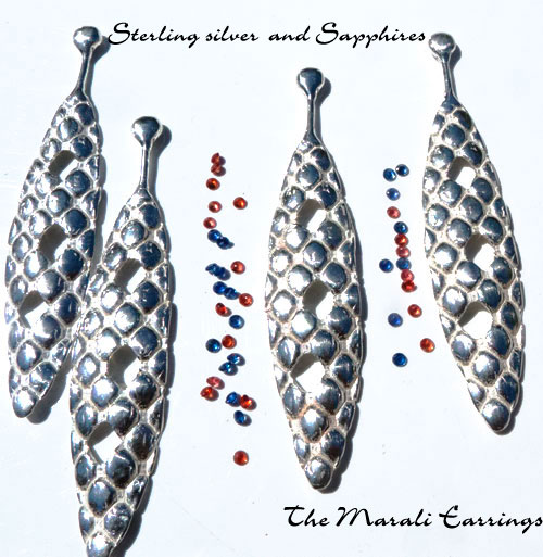 Sterling silver and Sapphires, Marali studs