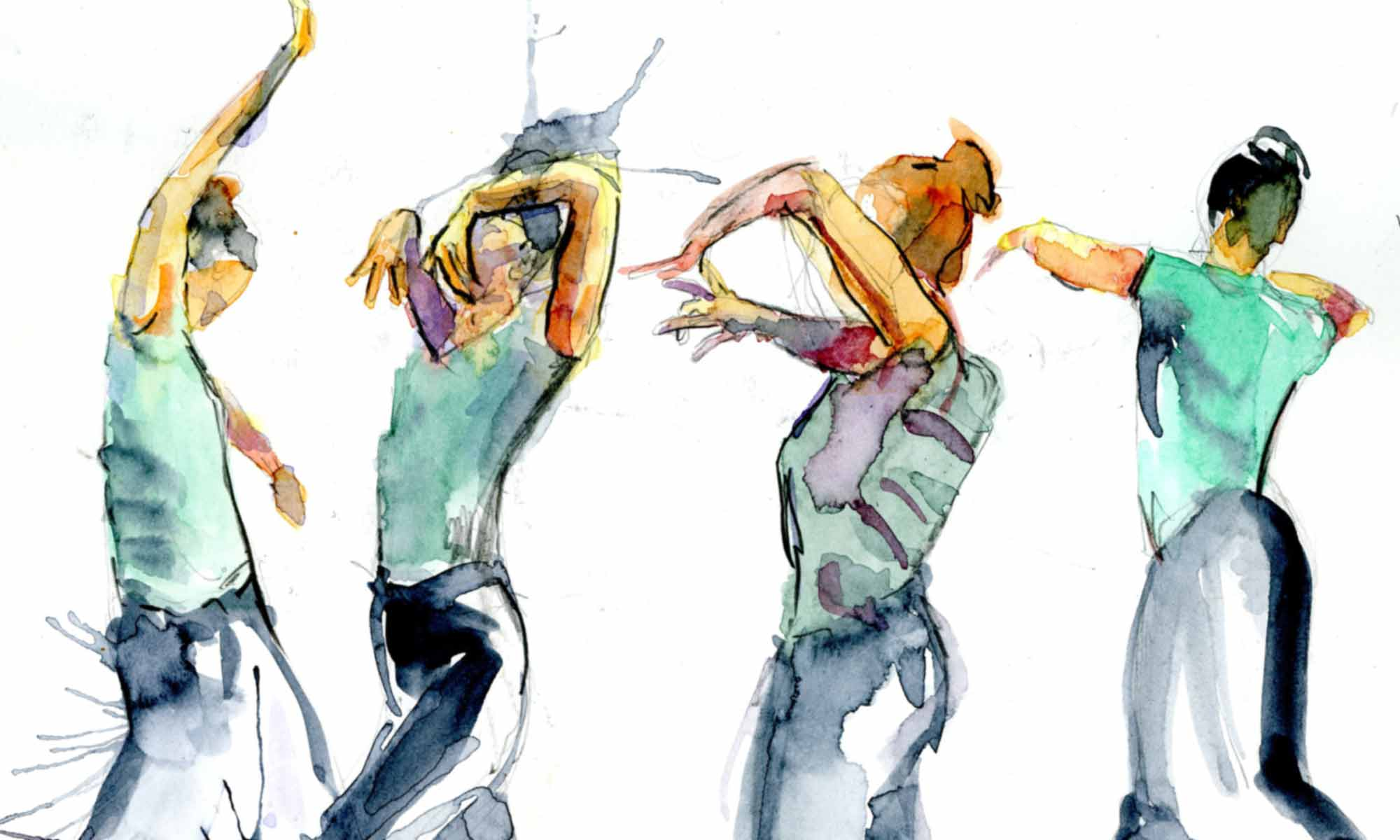 watercolour of flamenco dancer in different movements