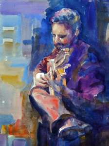 painting flamenco guitarist accompanying flamenco dancer