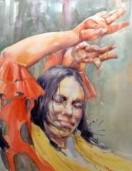 flamenco watercolour painting passion
