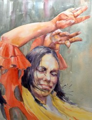 flamenco watercolour painting passion
