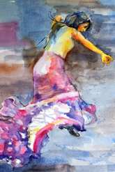 Flamenco dancer does the dance of long dresses
