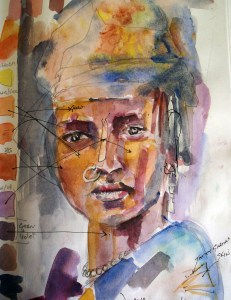 Preparing watercolour tones for African woman painting