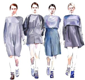 watercolour painting of four fashion models on catwalk