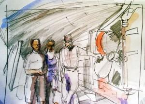 preliminary sketch of group restoring 1942 boat