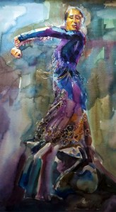 Watercolour painting of flamenco woman dancer holding arm position