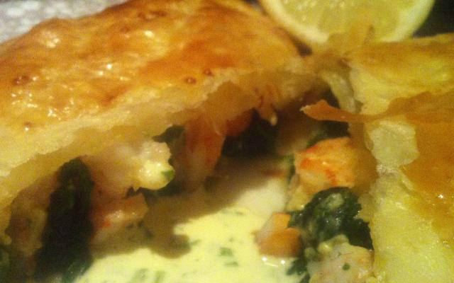 Prawn and Spinach Pastries with a Mousseline Sauce