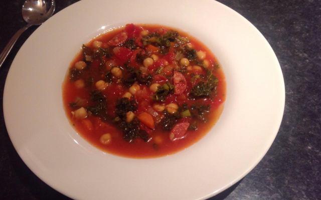 Chickpea, Chorizo & Kale Soup