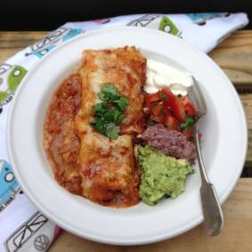 Homemade Enchiladas with all the sides.
