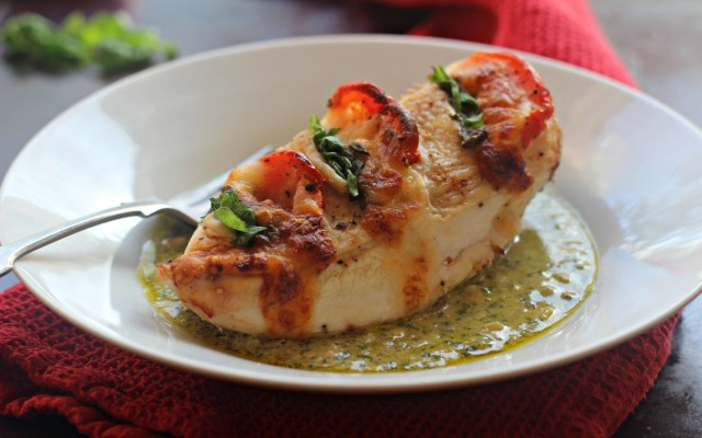 Baked Chicken Caprese with a Pesto Cream Sauce