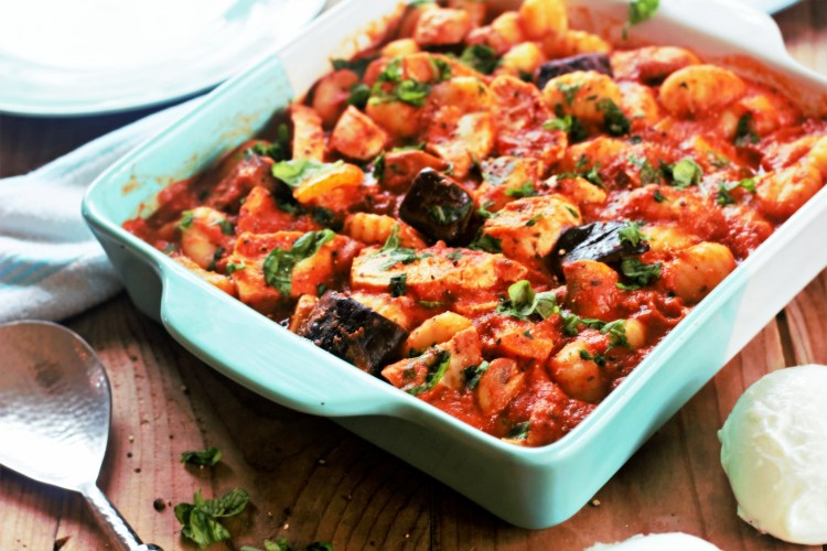 Baked Gnocchi with Chicken, Aubergine and Mozarella