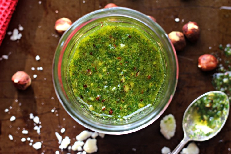 Hazelnut and Coolea Cheese Basil Pesto