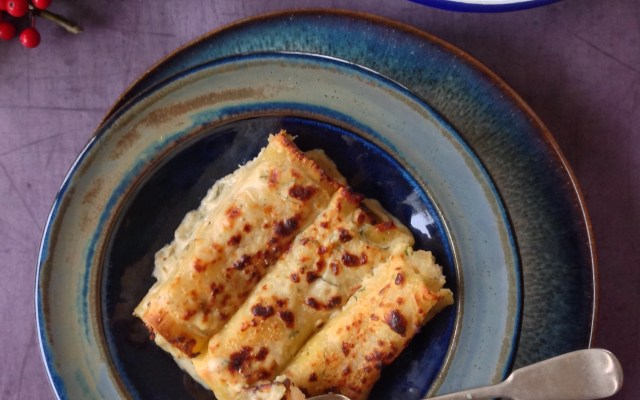 Crab and Prawn Cannelloni with Leeks, Fennel and Dill