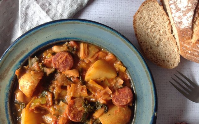Leek,Kale and Potato Stew with Smoked Chorizo and White Beans