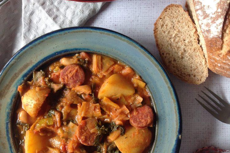 Leek,Kale and Potato Stew with Smoked Chorizo and White Beans