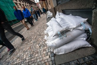 sandbags on sidewalk