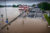 wide view of flooded road