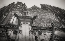 Gargoyles on front facade of Saint Vitus cathedral in Prague..