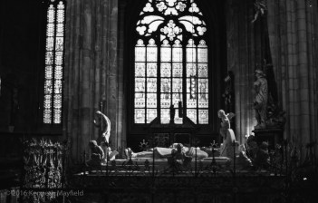 Interior, Saint Vitus Cathedral. Marble figures with backlight.