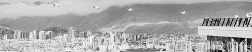 Infrared view of plane landing in Coal Harbour