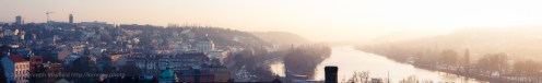 Misty view of the Vltava as seen from Vyšehrad