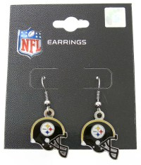 Pittsburgh Steelers NFL Football Dangle Earrings Black