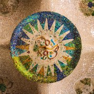 Park Güell Ceiling Mosaic in the Hypostyle Room