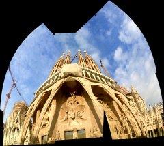 Sagrada Familia Passion facade panorama