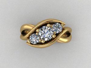 Three-Stone Swirl Ring