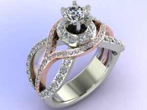 Diamond Swirl Engagement Ring