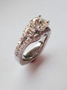 Three Stone Split Shank Anniversary Ring