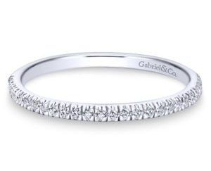 WB7224W44JJ 1 - 14K White Gold Curved Wedding Band