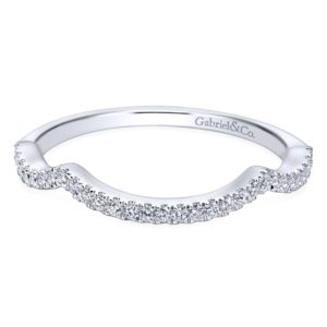 WB7543W44JJ 1 - 14K White Gold Round Curved Wedding Band
