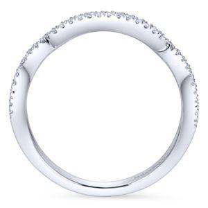 WB7543W44JJ 2 - 14K White Gold Round Curved Wedding Band
