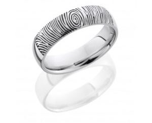 14kw6d lcvfingerprint2 polish - 14K White Gold Domed Band with Customized Laser Carved Fingerprint