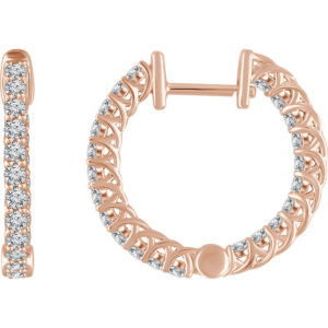 652854r - 1ct Diamond Hoop Earrings