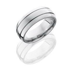 CC8D2.5 - Cobalt Chrome 8mm Domed Band with Two .5mm Grooves
