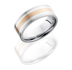 CC8F1221 14KRSS - Cobalt Chrome 8mm Flat Band with 2mm 14K Rose Gold and Two 1mm Sterling Silver inlays
