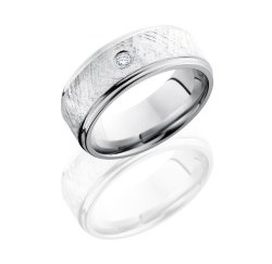 CC8FGE16 SSDIA.07 - Cobalt Chrome 8mm Flat Band with Grooved Edges, 6mm Sterling Silver inlay and .07ct Diamond