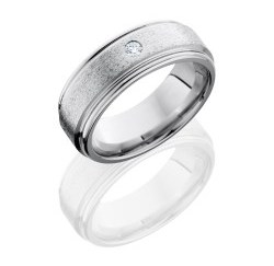 CC8REFDIA.07F - Cobalt Chrome 8mm Flat Band with Rounded Edges and .07ct Diamond