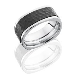 CCPF9FSQ16 Z - Cobalt Chrome 10mm Flat, Square Band with 6mm Zirconium Inlay