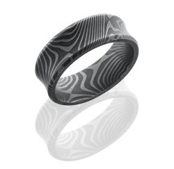D8CBFLATTWIST - FDamascus Steel 8mm Concave Band with Beveled Edges in Flattwist Pattern