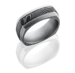 D8DSQ2.5FLATTWIST - Damascus Steel 8mm Domed EuroSquare Band with Two .5mm Grooves in Flattwist Pattern