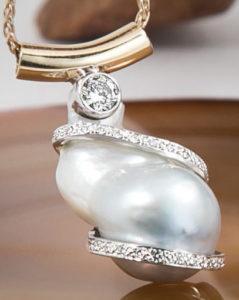 Diamond Wrap South-Sea Pearl Pendant