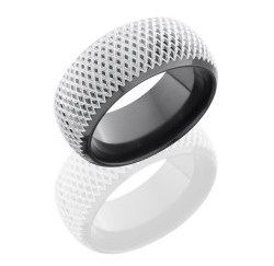 Z10DB KNURL - Zirconium 10mm Domed Band with Beveled Edges and Knurl Pattern