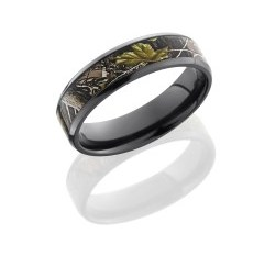 Z6B14NS RTAPG - Zirconium 6mm Flat Band with Beveled Edges and 4mm Realtree APG Camo inlay