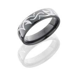 Z6D TRIB - Zirconium 6mm Domed Band with Tribal Pattern