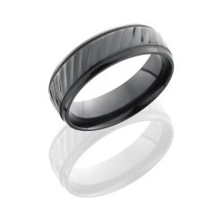 Z7B2UMILSTRIPES - Zirconium 7mm Beveled Band with Milgrain and Striped Pattern
