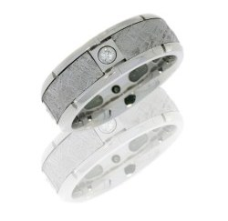 cc8b4seg meteorite4x07b polish - Zirconium Domed Band with Meteorite Inlay